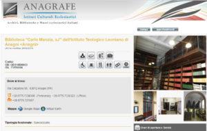 Scheda biblioteca su Anagrafe Istituti Culturali Ecclesiastici